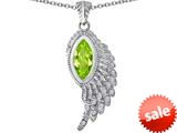 Original Star K™ Angel Wing Pendant with Marquise Shape Simulated Apple Green Amethyst style: 309460