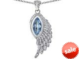 Original Star K™ Angel Wing Pendant with Marquise Shape Simulated Aquamarine style: 309461