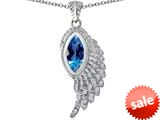 Original Star K™ Angel Wing Pendant with Marquise Shape Simulated Blue Topaz style: 309462