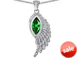 Original Star K™ Angel Wing Pendant with Marquise Shape Simulated Emerald style: 309465