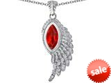 Original Star K™ Angel Wing Pendant with Marquise Shape Simulated Orange Mexican Fire Opal style: 309466