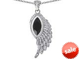 Original Star K™ Angel Wing Pendant with Marquise Shape Simulated Black Onyx style: 309468