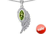 Original Star K™ Angel Wing Pendant with Marquise Shape Simulated Peridot style: 309470