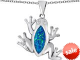 Original Star K™ Lucky Frog Pendant with Marquise Shape Created Blue Opal style: 309473