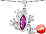 Original Star K™ Lucky Frog Pendant with Marquise Shape Created Pink Sapphire style: 309475
