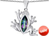 Original Star K™ Lucky Frog Pendant with Marquise Shape Rainbow Mystic Topaz style: 309476