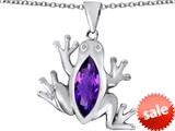 Original Star K™ Lucky Frog Pendant with Marquise Shape Simulated Amethyst style: 309477
