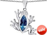 Original Star K™ Lucky Frog Pendant with Marquise Shape Simulated Blue Topaz style: 309479