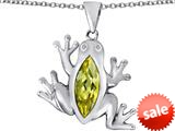 Original Star K™ Lucky Frog Pendant with Marquise Shape Simulated Citrine style: 309480