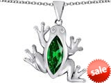 Original Star K™ Lucky Frog Pendant with Marquise Shape Simulated Emerald style: 309481