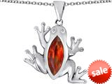Original Star K™ Lucky Frog Pendant with Marquise Shape Simulated Orange Mexican Fire Opal style: 309482