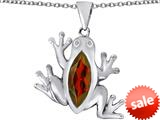 Original Star K™ Lucky Frog Pendant with Marquise Shape Simulated Garnet style: 309483