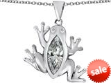 Original Star K™ Lucky Frog Pendant with Marquise Shape Simulated White Topaz style: 309484