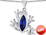Original Star K™ Lucky Frog Pendant with Marquise Shape Simulated Sapphire style: 309485