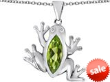 Original Star K™ Lucky Frog Pendant with Marquise Shape Simulated Peridot style: 309487