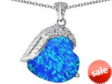 Original Star K™ Angel Wing of Love Pendant with Heart Shape Created Blue Opal style: 309489