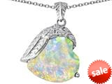 Original Star K™ Angel Wing of Love Pendant with Heart Shape Created Opal style: 309490