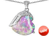 Original Star K™ Angel Wing of Love Pendant with Heart Shape Created Pink Opal style: 309491