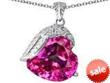 Original Star K™ Angel Wing of Love Pendant with Heart Shape Created Pink Sapphire style: 309492