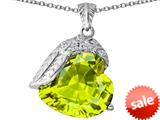 Original Star K™ Angel Wing of Love Pendant with Heart Shape Simulated Apple Green Amethyst style: 309496