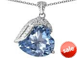 Original Star K™ Angel Wing of Love Pendant with Heart Shape Simulated Aquamarine style: 309497