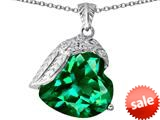 Original Star K™ Angel Wing of Love Pendant with Heart Shape Simulated Emerald style: 309501