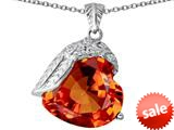 Original Star K™ Angel Wing of Love Pendant with Heart Shape Simulated Orange Mexican Fire Opal style: 309502