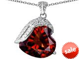 Original Star K™ Angel Wing of Love Pendant with Heart Shape Simulated Garnet style: 309503