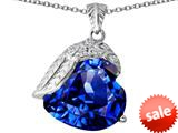 Original Star K™ Angel Wing of Love Pendant with Heart Shape Simulated Sapphire style: 309504