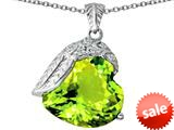 Original Star K™ Angel Wing of Love Pendant with Heart Shape Simulated Peridot style: 309505