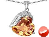 Original Star K™ Angel Wing of Love Pendant with Heart Shape Simulated Imperial Yellow Topaz style: 309506