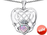 Celtic Love By Kelly ™ Celtic Knot Irish Heart Claddagh Pendant with Heart Shape Created Pink Opal style: 309509