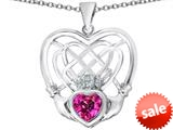 Celtic Love By Kelly ™ Celtic Knot Irish Heart Claddagh Pendant with Heart Shape Created Pink Sapphire style: 309510