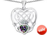 Celtic Love By Kelly ™ Celtic Knot Irish Heart Claddagh Pendant with Heart Shape Rainbow Mystic Topaz style: 309513