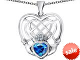 Celtic Love By Kelly ™ Celtic Knot Irish Heart Claddagh Pendant with Heart Shape Simulated Blue Topaz style: 309516