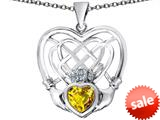 Celtic Love By Kelly ™ Celtic Knot Irish Heart Claddagh Pendant with Heart Shape Simulated Citrine style: 309517