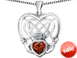 Celtic Love By Kelly ™ Celtic Knot Irish Heart Claddagh Pendant with Heart Shape Simulated Garnet style: 309521