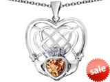 Celtic Love By Kelly ™ Celtic Knot Irish Heart Claddagh Pendant with Heart Shape Simulated Imperial Yellow Topaz style: 309523