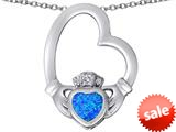 Celtic Love By Kelly ™ Floating Heart Irish Claddagh Pendant with Heart Shape Created Blue Opal style: 309524