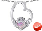 Celtic Love By Kelly ™ Floating Heart Irish Claddagh Pendant with Heart Shape Created Pink Opal style: 309527