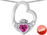 Celtic Love By Kelly ™ Floating Heart Irish Claddagh Pendant with Heart Shape Created Pink Sapphire style: 309528