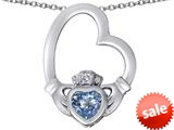 Celtic Love By Kelly ™ Floating Heart Irish Claddagh Pendant with Heart Shape Simulated Aquamarine style: 309533