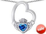 Celtic Love By Kelly ™ Floating Heart Irish Claddagh Pendant with Heart Shape Simulated Blue Topaz style: 309534