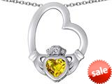 Celtic Love By Kelly ™ Floating Heart Irish Claddagh Pendant with Heart Shape Simulated Citrine style: 309535