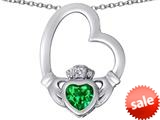 Celtic Love By Kelly ™ Floating Heart Irish Claddagh Pendant with Heart Shape Simulated Emerald style: 309536