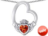 Celtic Love By Kelly ™ Floating Heart Irish Claddagh Pendant with Heart Shape Simulated Orange Mexican Fire Opal style: 309537