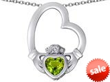 Celtic Love By Kelly ™ Floating Heart Irish Claddagh Pendant with Heart Shape Simulated Peridot style: 309539