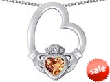 Celtic Love By Kelly ™ Floating Heart Irish Claddagh Pendant with Heart Shape Simulated Imperial Yellow Topaz style: 309540