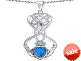 Celtic Love By Kelly ™ Celtic Knot Claddagh Heart Pendant with Heart Shape Created Blue Opal style: 309543