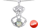 Celtic Love By Kelly ™ Celtic Knot Claddagh Heart Pendant with Heart Shape Created Opal style: 309544